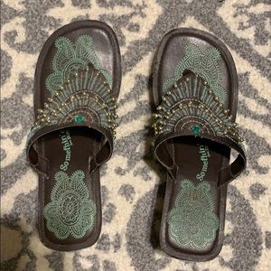 Sketchers Green and Gold Wedge Sandals
